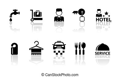 hotel concept icons with reflection