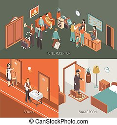 Hotel Concept Isometric Design Poster