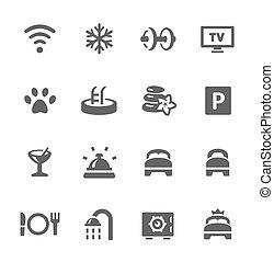 hotel, conjunto, características, icono
