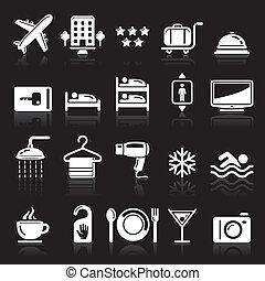 hotel, conjunto, fondo negro, iconos