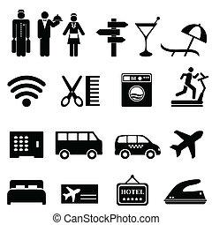 hotel, conjunto, icono