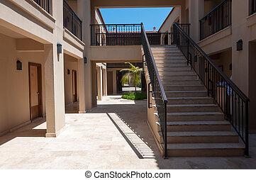Hotel courtyard in the Turkish hotel