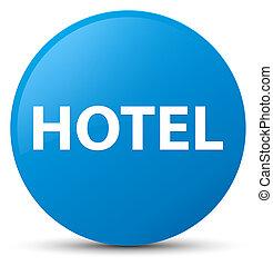 Hotel cyan blue round button