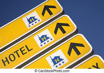 hotel, direção, sinais