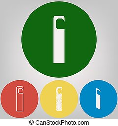 Hotel Door hanger tag sign. Vector. 4 white styles of icon at 4 colored circles on light gray background.