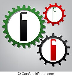 Hotel Door hanger tag sign. Vector. Three connected gears with i