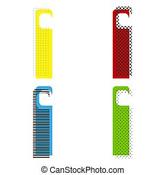 Hotel Door hanger tag sign. Vector. Yellow, red, blue, green ico