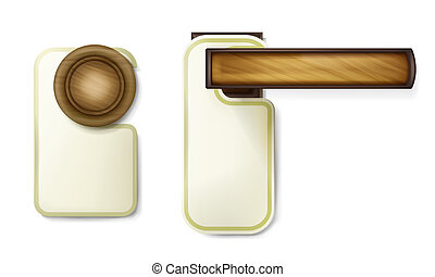 Hotel door knob vector illustration of wooden turning round handle with hanging empty paper notice tag template. Isolated 3D mockup on white background