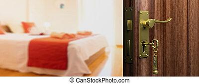 Hotel doorway with open door, blur bedroom background. 3d illustration