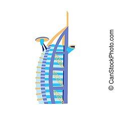 hotel, dubai, este, símbolo, famoso, árabe, unido, medio, ...