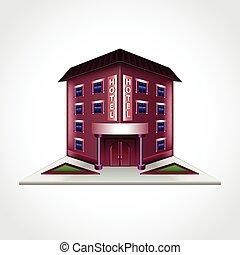 hotel, edificio, aislado, vector