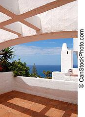 hotel, eiland, tenerife, luxe, overzeese mening, spanje, terras