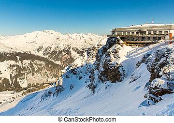 hotel, em, refúgio esqui, mau, gastein, em, inverno, nevado,...