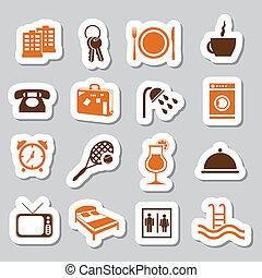 hotel, en, accommodatie, stickers