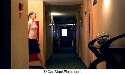 hotel., entrer, salle, femme affaires, vue
