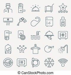 hotel, esboço, cobrança, ícones