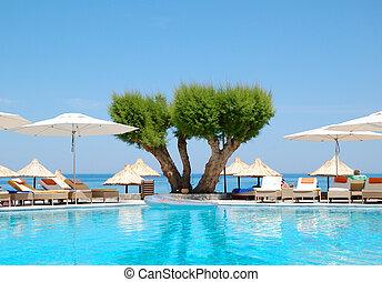 hotel, fényűzés, görögország, kréta, pocsolya, úszás