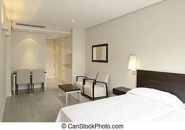 hotel, fényűzés, hálószoba