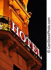 Hotel facade at night