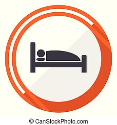 Hotel flat design vector web icon. Round orange internet button isolated on white background.