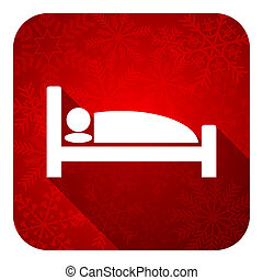 hotel flat icon, christmas button, bed sign