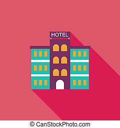 Hotel flat icon with long shadow