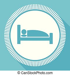 Hotel flat vector icon, sleep bed square blue web button