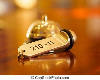 hotel, glocke, und, schlüssel, liegen, auf, der, buero