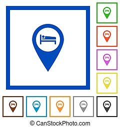 Hotel GPS map location flat framed icons