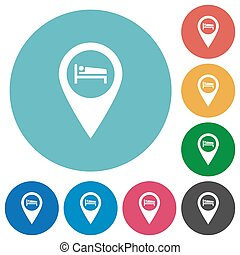 Hotel GPS map location flat round icons