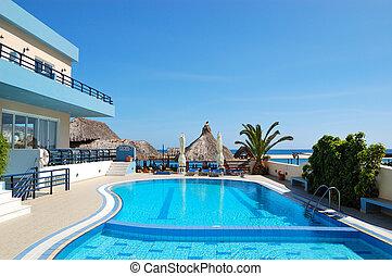 hotel, grecia, popular, crete, piscina, natación
