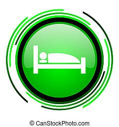 hotel green circle glossy icon