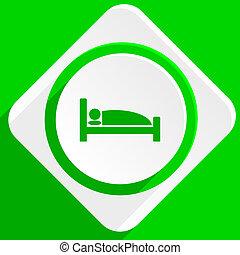 hotel green flat icon