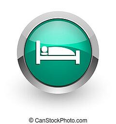 hotel green glossy web icon