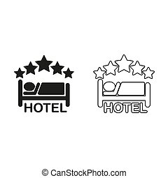 hotel - green vector icon