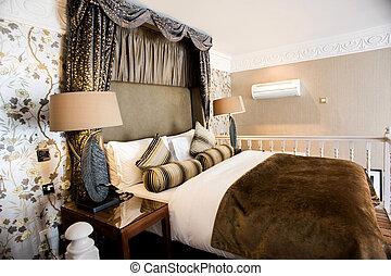 hotel., hálószoba, díszes