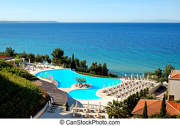 hotel, halkidiki, moderno, árbol, medio, lujo, grecia, ...