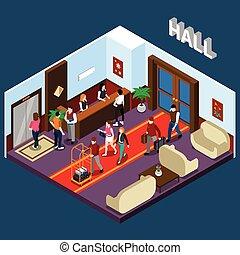 Hotel Hall Isometric Illustration