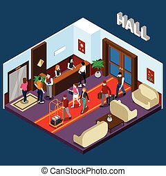 Hotel Hall Isometric Illustration