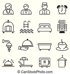Hotel, hospitality and resort line web icons
