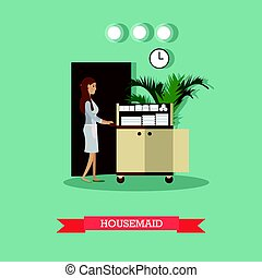 Hotel housemaid vector illustration in flat style