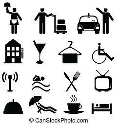 hotel, i, gościnność, ikona, komplet