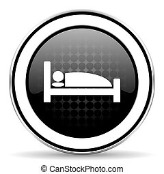 hotel icon, black chrome button, bed sign