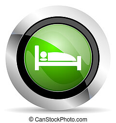 hotel icon, green button, bed sign