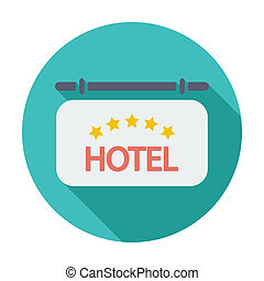 Hotel icon - Hotel. Single flat color icon. Vector...