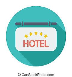Hotel icon - Hotel. Single flat color icon. Vector...