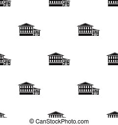 Hotel icon in black style isolated on white background. Building pattern stock vector illustration.