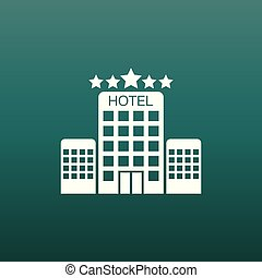 Hotel icon on green background. Simple flat pictogram for business, marketing, internet concept. Trendy modern vector symbol for web site design or mobile app.