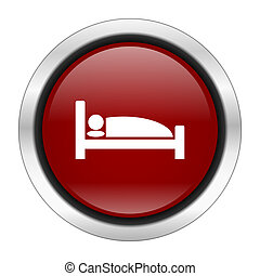 hotel icon, red round button isolated on white background, web design illustration