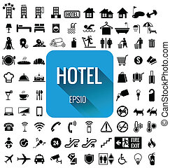 Hotel icon set vector on white back